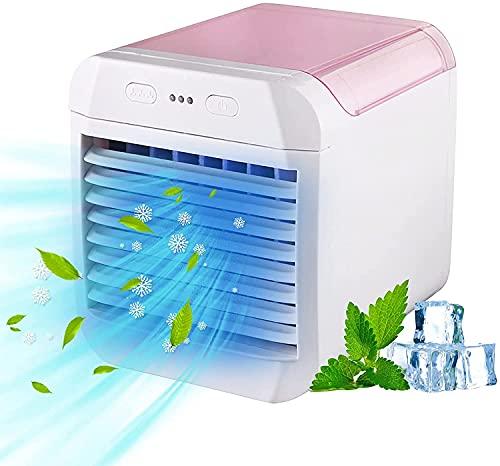 Aire acondicionado portátil Ventilador para el hogar, carga USB Silent Air Surfring Surficing Humidifier, Mini refrigerador de aire evaporativo con 3 velocidades, ventilador de refrigerador de aire de