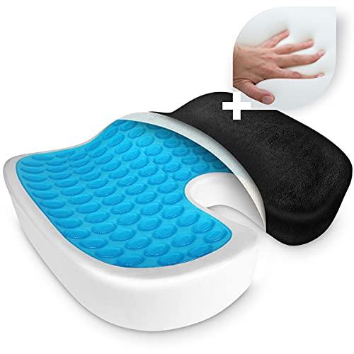 SaniVerde® Cojin Coxis de Espuma Memoria Portátil para Hemorroides, Hernias, Cojines para espalderas y sillas, Alivia la Fatiga y el Dolor por Office, Coche