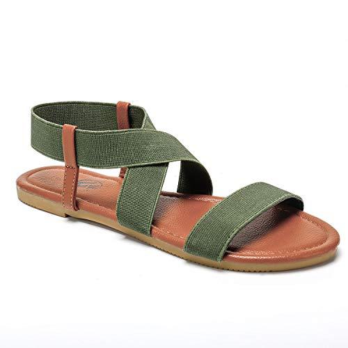 Trary Open Toe Cute Elastic Flat Sandals for Women Khaki Green 07