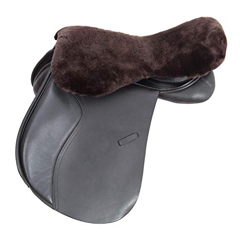 Merauno English Merino Sheepskin Saddle Seat Cover - Funda de asiento de piel de cordero (tamaño M), color marrón