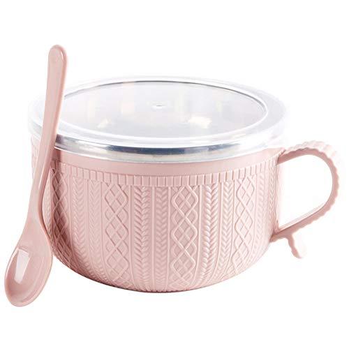 Herewegoo RVS Bowl met Deksel Lepel voor Instant Noodles Rijst Huishoudelijke Gebruiksvoorwerpen