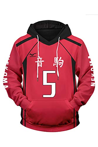 Haikyuu Nekoma High School Kozume Kenma Nr. 5 Hoodie Volleyball Uniform Sweatshirt Pullover -Volleyball Club Team Sweatshirt Hoodie Kapuzenpullover Pullovershirt Sweatjacke Cosplay Kostüm