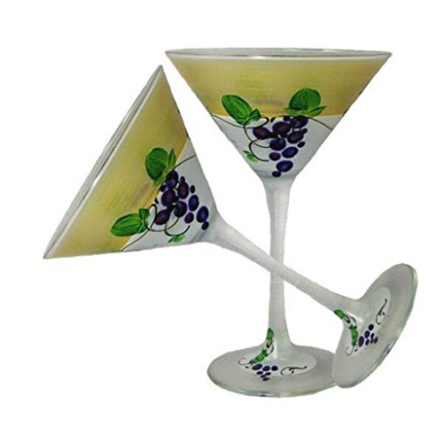 Golden Hill Studio Hand Painted Martini Glasses Set of 2 - Napa Grapes 'n Vines Collection - Hand Painted Glassware by USA Artists - Unique and Decorative Martini Glasses, Kitchen Table Déco