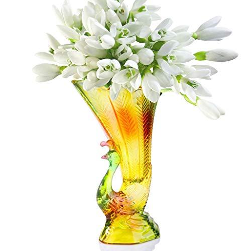 PLL Pfau Kristall Glasierte Bunte Vase Home Eingefügt Vase Warm Und Kreative Blume Ornamente Vase