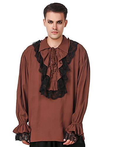 ThePirateDressing Medieval Renaissance Poet Cosplay Costume Roberto Cofresi Pirate Shirt [Chocolate] (XXL) C1003