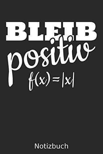 Bleib Positiv f(x) =  x  Notizbuch: Notizbuch / Journal, 6x9 Zoll, 110 Seiten, Blanko / Leere Seiten mit Rahmen   Für Mathelehrer, Ingenieure, ... und Menschen mit Humor und Spaß an Mathematik