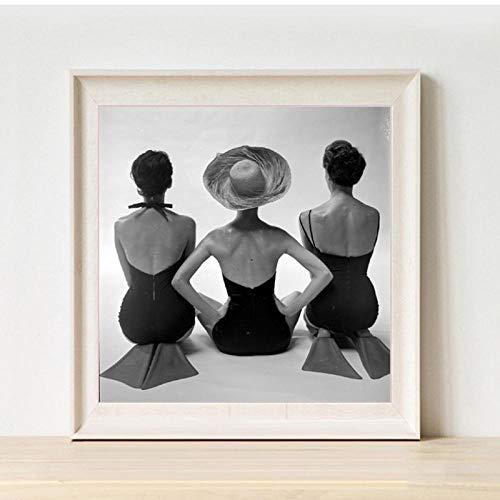 Terilizi Zwarte en witte oude fotografie vrouw, de prints badpakken vintage mode poster canvas schilderij badkamer huis wanddecoratie 30 x 40 cm ongekaderd geposeerd