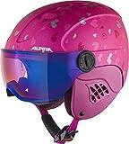 ALPINA Carat LE Visor HM Casco de esquí, Girls, Berry-Hearts Matt, 48-52 cm