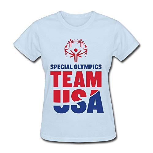 LOV-Tshirts Print T Shirt Women's Special Olympics World Sports Games Team USA T-Shirt S Sky Blue
