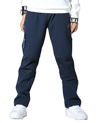 Echinodon Kinder Hose mit Fleecegefütterung Warm+ Wasserdicht + Winddicht + Atmungsaktiv + Schnelltrockend Winterhose Sporthose Blau 170
