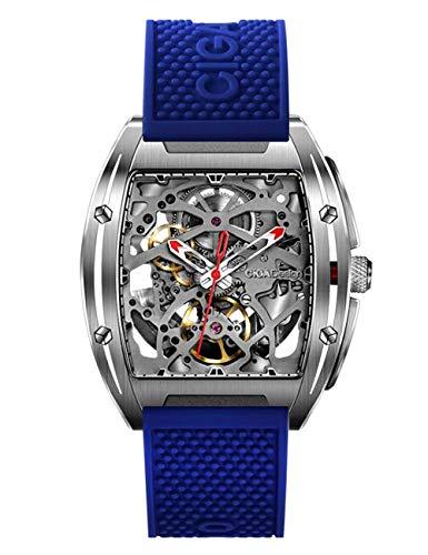 Automatische mechanische Herrenuhren Analoge wasserdichte Armbanduhren Modische Edelstahluhr mit blauem Silikonarmband für das Sportgeschäft