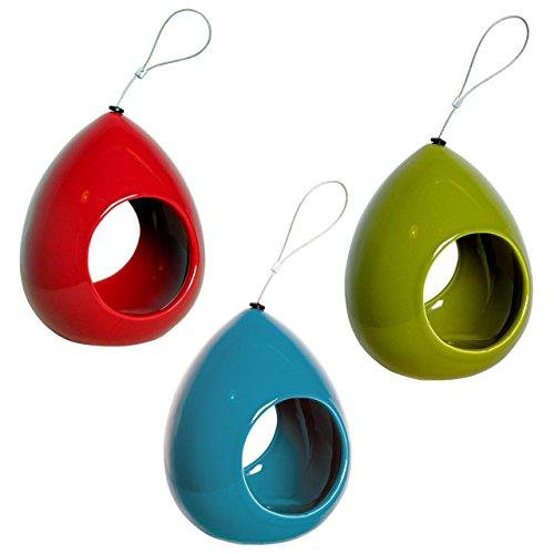 Edle Design-Futterspender in Tropfenform im 3er-Set, Futterstationen in drei Farben, Ø 14 x 18 cm, Keramik