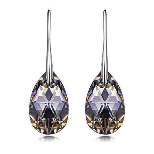 LADY COLOUR, Silver Night Teardrop Dangle Earrings for Women – $16.56 (36% Off)