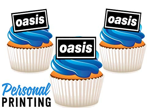 PP - Oasis 90s Rock Band Logo Mix 12 Eetbare Stand up Premium Wafer Card Cake Toppers Decoraties
