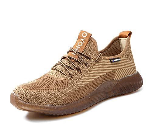 Nasogetch Sicherheitsschuhe für Damen und Herren mit Stahlkappe Arbeitsschuhe Atmungsaktiv Leicht Sportlich Sneaker, Khaki 42