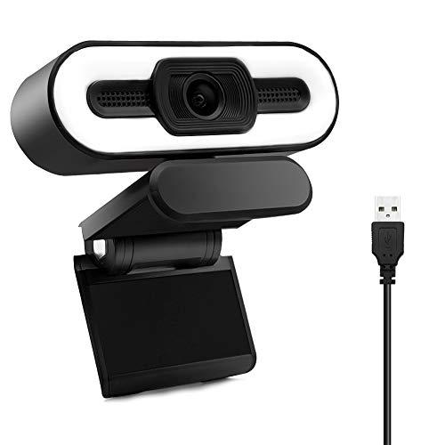 Webcam 1080P HD Einstellbarer Leuchtring Eingebaut mit Stereomikrofon Plug and Play USB Webcam fur Telekonferenzen Zoom Skype Facetime Kompatibel mit Windows Android MacOS etc