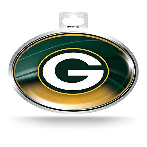 NFL Rico Industries Metallic Team Logo Sticker, Green Bay Packers, 3.5 x 5-inches