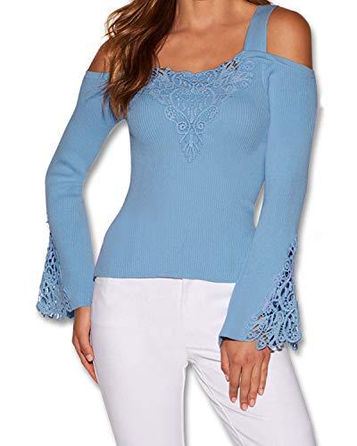 ZANZEA Damen Bluse Schulterfrei T-Shirt Kurzarm/Langarmshirts Carmenbluse Cut Out Top Oberteil 02-blau XXX-Large