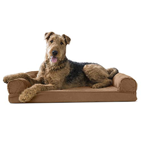 Furhaven Pet Dog Bed | Memory Foam Quilted Traditional Sofa-Style Living Room Couch Pet Bed w/ Removable Cover for Dogs & Cats, Toasted Brown, Large Beds Cat Dog Supplies Top