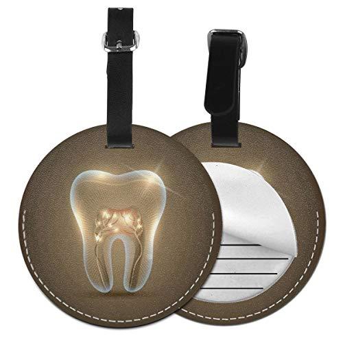 Etiquetas De Equipaje De Cuero Sintético Identificación De Nombre con Cubierta De Privacidad Trasera para Maleta De Viaje, Odontología Dental Dental para Dentistas