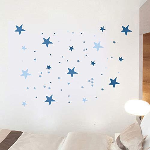 Juego de 63 adhesivos para pared de Lorryhaus con diseño de cielo estrellado para pegar en la pared de tu cielo estrellado y adhesivo fluorescente para habitación infantil (Azul)