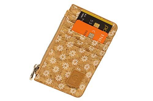 Cartera para tarjetas de crédito para mujer, unisex, pequeña, de bolsillo, estilo étnico de corcho, fina, ultra plana (Daisy, Slim Zip)