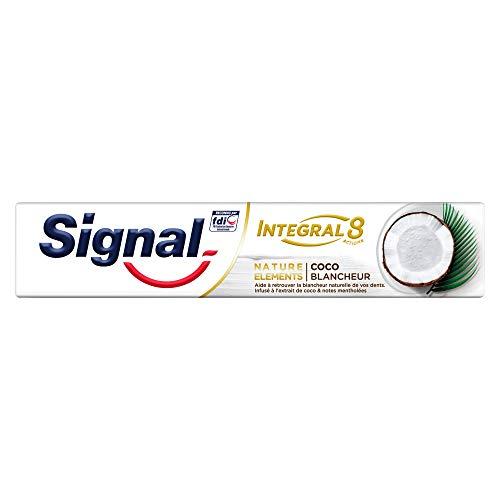 Signal Integral 8 Dentifrice Antibactérien Nature Elements Coco Blancheur, Formule Antibactérienne cliniquement prouvée 75ml