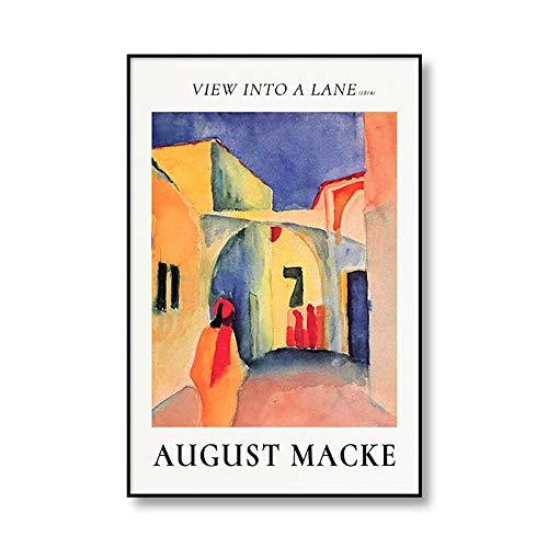 Famoso August Macke Tegernsee paisaje cuerda Walker lienzo pintura arte impresión cartel familia sin marco lienzo pintura Q-1 70x100cm