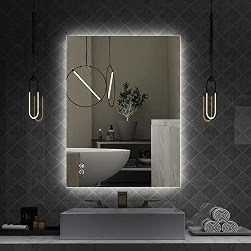 Espejo LED para baño de 32 x 24 pulgadas con retroiluminación para pared antivaho, impermeable, regulable, botón táctil circular de...