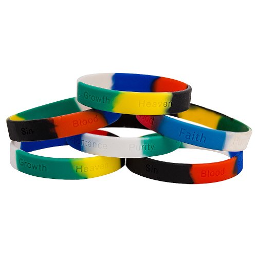 Sterling Gifts 12 Colors of Salvation Silicone Bracelets with Wording Christian Pack of 12
