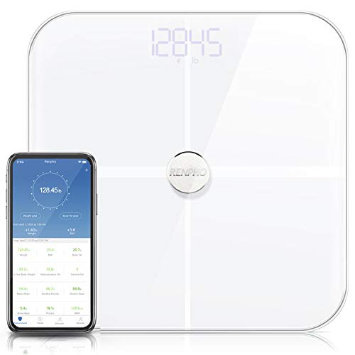 RENPHO Smart Bluetooth Body Fat Scale Digital Bathroom Weight BMI Scales, Wireless Digital Bathroom Scale, 13 Measurements Fitness Body Composition Analysis & Health Monitor, ITO White