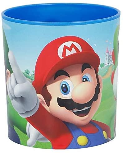 Tazza Bicchiere Supermario in plastica per Microonde con manico Bambini colazione Super Mario