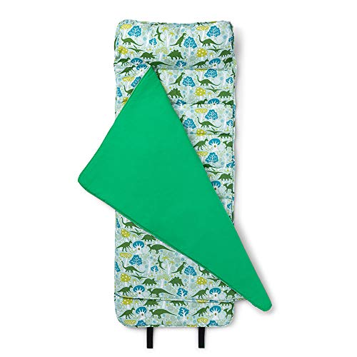 Wildkin Original Nap Mat with Pillow for Toddler Boys and Girls, Measures 50 x 20 x 1.5 Inches, Ideal for Daycare and Preschool, Mom's Choice Award Winner, BPA-Free, Olive Kids (Dinomite Dinosaurs)