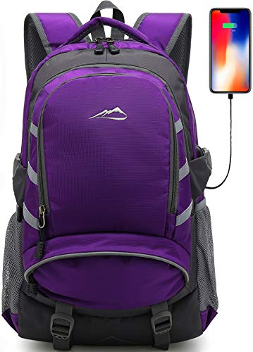 ProEtrade Backpack Daypack for School College Laptop Travel, Computer Bookbag Bag with USB Charging Port Anti Theft Laptop Compartment Fits 15.6 Inch Notebook, Gifts for Men & Women (Purple)