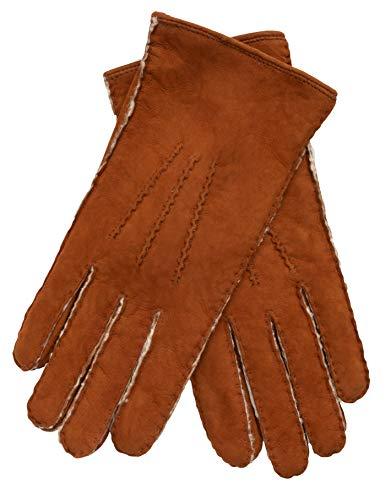 EEM Handschuhe aus echtem Lammfell Lina für Damen, mit warmen Lammfell gefüttert, Tobacco S - 6,5