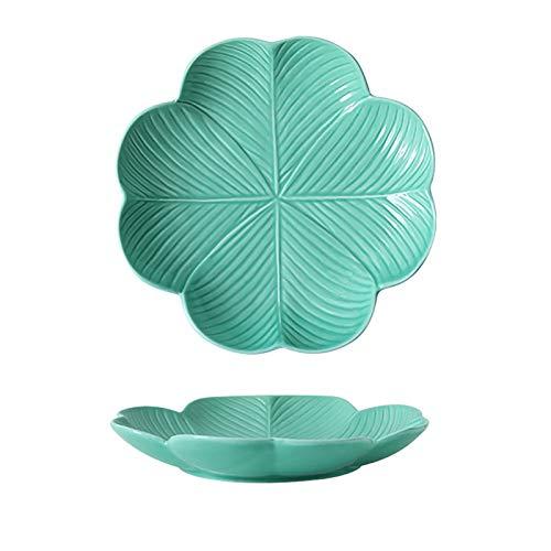 Placa de cerámica creativa de frutas y hojas, placa de cena personalizada, placa de hoja de forma de hoja, placa de plato, placa de microondas, placa de horno, placa de cerámica, adecuado para cocina