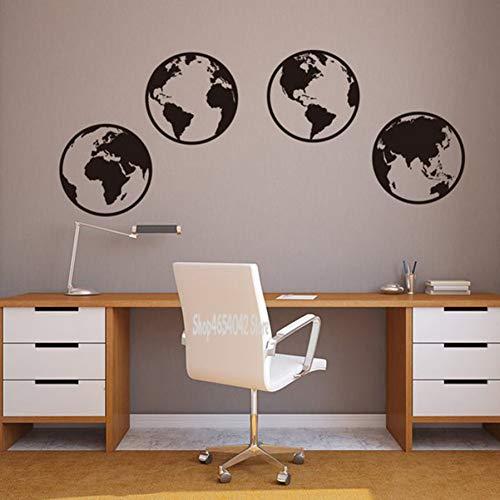SJXWOL Sticker Mural Citation Carte du Monde Entier Autocollant Vinyle Carte Internationale thème Bureau école décor de pépinière 56 * 4 cm