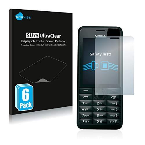savvies 6-Pezzi Pellicola Protettiva Compatibile con Nokia 301 Protezione Schermo Trasparente