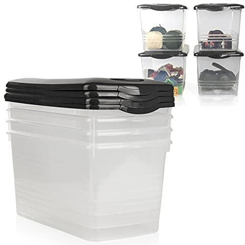 Hausfelder Juego de cajas de plástico con tapa para almacenamiento, cajas de plástico (4 x 10 l, antracita)