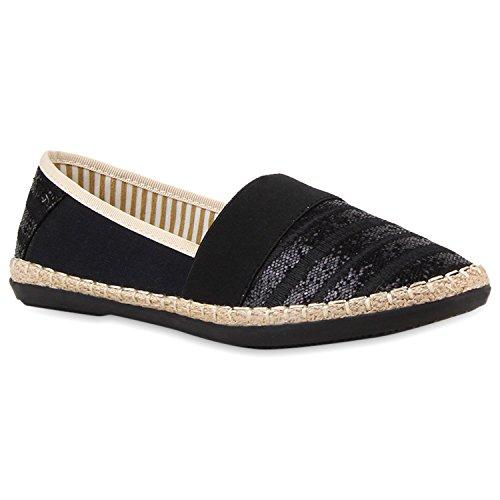 stiefelparadies Damen Bast Espadrilles Glitzer Streifen Slipper Flats Schuhe 118159 Schwarz 36 Flandell