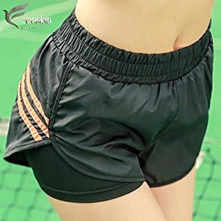 Zhangyunuo Women Sports Shorts Stripe Running Sportwear Active Yoga Shorts for Fitness Gym Workout Clothes for Women:Orange, L