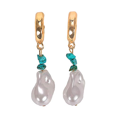 The same type of pearl series earrings trendy special-shaped shell beads bead string earrings asymmetric C earrings-turquoise