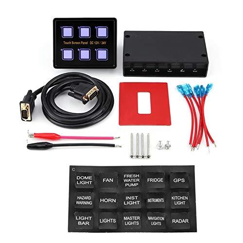 Panel de interruptores, 12V/24V Caja de panel de control de pantalla táctil de 6 bandas, Panel de interruptores LED para barco de coche universal