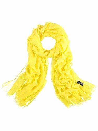 FRAAS Damen-Schal aus 100% Viskose - 100 x 200 cm Größe - Modische einfarbige Stola mit Fransen - Perfekt für den Frühling und Sommer Gelb-camel