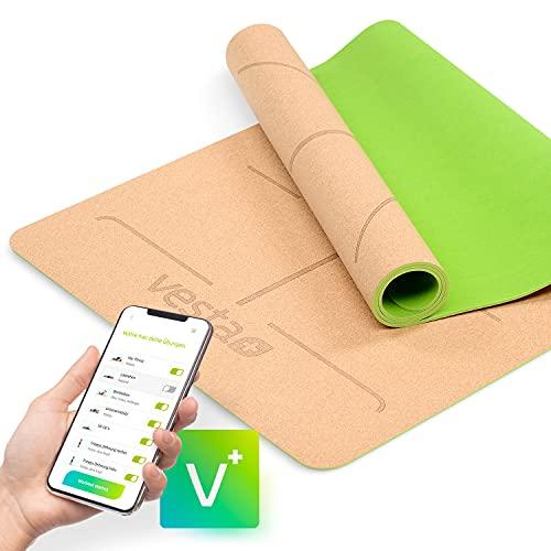 Vesta+ Yogamatte Naturkautschuk + Fitness App | Yogamatte Kork BPA frei & rutschfest | Deine nachhaltige Yogamatte Kautschuk aus öko Naturkork | Die Kork Yogamatte für das Plus Deinem Workout!