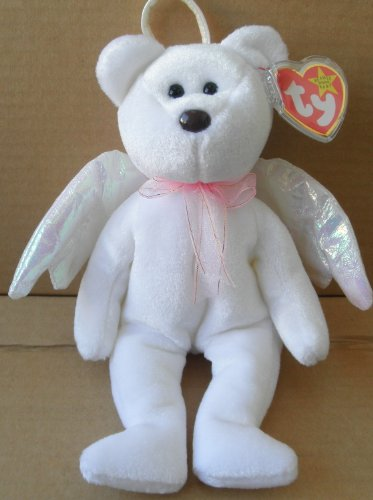 TY Beanie Babies Halo Angel Bear Stuffed Animal Plush Toy - 8 1/2 inches tall - White with Wings and Scarf