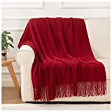 BATTILO HOME Knit Throw Blanket Soft Lightweight Diamond Textured Decorative Blanket with Tassel for Bed, Couch (Red, 50'x60')