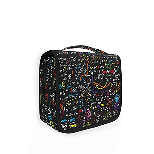 Bolsa de aseo colgante para educación matemática, trazados geométricos, fórmulas de viaje, gran bolsa de lavado para mujer, organizador de cosméticos para mujeres, niñas, bolsa de ducha