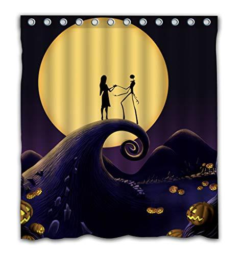 Patwee Happy Halloween Romantic Design Shower Curtain Waterproof Fabric for Bathroom Decoration 66x72 Inch
