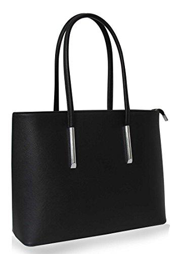 Vanessa & Melissa Damen Handtasche Schwarz Shopper Schulter-Tasche mit großer Kapazität